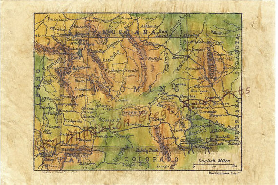 Wyoming Map 1906 - Montana Living