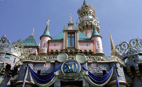 disneyland sleeping beauty castle 50th anniversary the happiest homecoming on earth gold crown blue diamond decoration