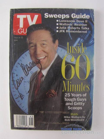 60 Minutes Host Mike Wallace Autographed 25th Anniversary 1993 TV Guide Issue