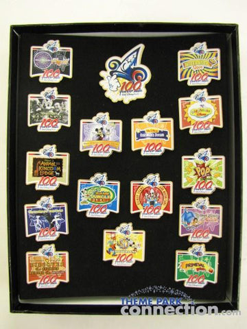 "Disney ""100 Years Of Magic"" WDW Media Event 16 Trading Pin Box Set"