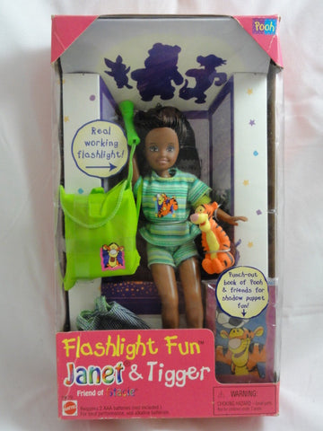 Disney 1997 Barbie Stacie Flashlight Fun JANET Doll With Tigger Toy Figure