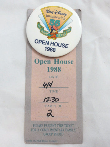 Walt Disney Imagineering 35th Anniversary OPEN HOUSE 1988 Button & Ticket