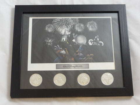 Walt Disney World Retired Park Exclusive Framed Fab 4 Fireworks Art Print & Silver Coin Set