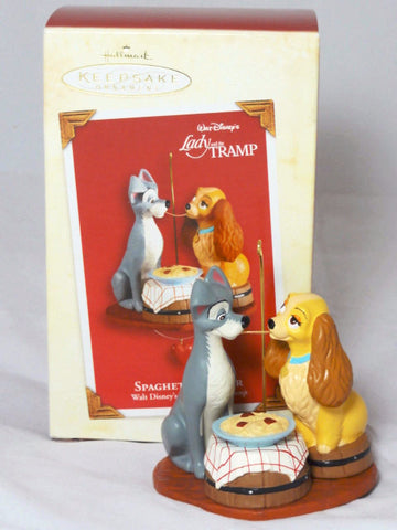 Disney Hallmark LADY & THE TRAMP Spaghetti Supper Figurine Retired 2003 Keepsake Ornament