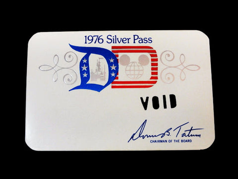 Disneyland Walt Disney World Vintage 1976 Bicentennial SILVER PASS Park Ticket