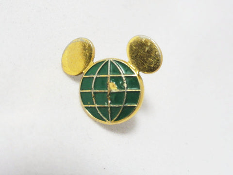 Walt Disney World Disneyland Vintage 1980s Green Mickey Globe Original 1 Year Service Award Pin