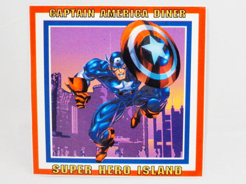 Universal Studios ISLANDS OF ADVENTURE Authentic Original CAPTAIN AMERICA DINER Marvel Super Hero Island Trash Can Vinyl Decal Sign Prop