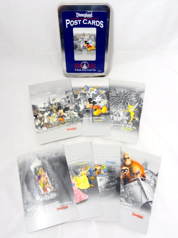 Disneyland Retired Park Exclusive 7 Post Card Art Set With Tin Case