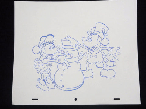 "Disney MICKEY & MINNIE MOUSE CHRISTMAS SNOWMAN 10.5""x12.5"" Colored Pencil Drawing Original Art"