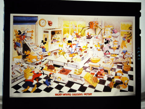 Disney MICKEY MOUSE CHOCOLATE FACTORY Vintage 1980s Original Production Poster Art Color Kodak Film Plate Slide Image