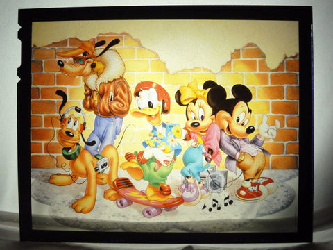 Disney MICKEY MINNIE MOUSE FAB 5 STREET SCENE Vintage 1980s Original  Production Poster Art Color Kodak Film Plate Slide Image