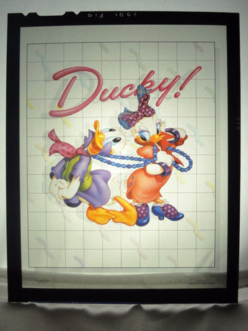 "Disney DONALD & DAISY DUCK ""DUCKY"" Vintage 1980s Original Production Poster Art Color Kodak Film Plate Slide Image"