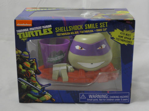 Teenage Mutant Ninja Turtles Toy DONATELLO Toothbrush Holder, Toothbrush, & Rinse Cup Shellshock Smile Set SEALED