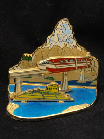 Walt Disney Imagineering Limited Edition 300 Imagineer Exclusive Finding Nemo Submarine Voyage Lagoon Monorail 3D Diorama Pin