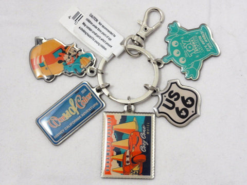 Disney California Adventure Cars Cozy Cone, Mickey & Minnie, World Of Color, US 66, Toy Story Mania, 5 Charm Key Ring Keychain