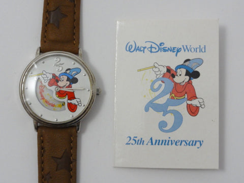 Walt Disney World 25th Anniversary Sorcerer Mickey Mouse Retired 1996 Leather Band Watch