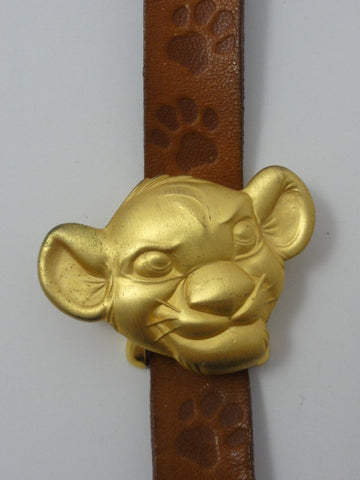 Disney Timex Rare Retired Vintage LION KING Gold Simba Flip Face Leather Band Watch