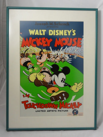 Disney Impressions TOUCHDOWN MICKEY Mouse Movie Poster Artwork Framed Wall Art