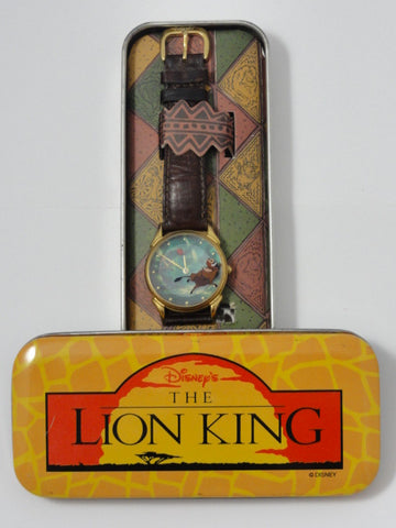 Disney Store The Lion King Rare Retired TIMON & Bug Eating PUMBAA Leather Band Watch