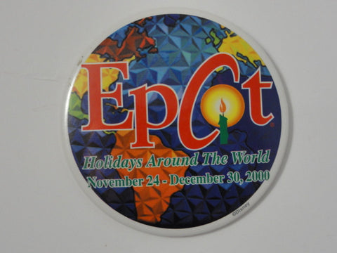Walt Disney World EPCOT Holidays Around The World 2000 Pin Back Button