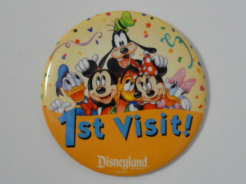 Disneyland Resort 1ST VISIT! Mickey, Minnie, Donald, Daisy, Goofy Pluto Disney Theme Park Exclusive Pin Back Button