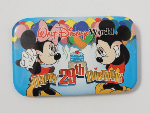 Walt Disney World HAPPY 29TH BIRTHDAY Mickey & Minnie Mouse Theme Park Event Exclusive Pin Back Button