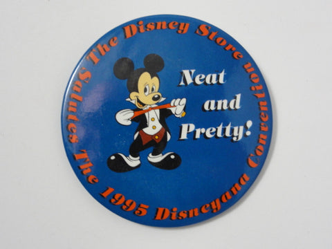 Disney Store 1995 Disneyana Convention Mickey Mouse Neat & Pretty Event Exclusive Pin Back Button
