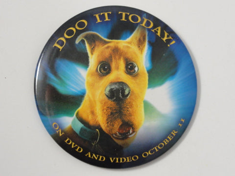 "SCOOBY DOO Rare ""Doo It Today"" 2002 Movie DVD & Video Promo Pin Back Button"