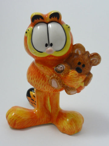 GARFIELD & Pooky Teddy Bear Rare Vintage Retired Hand Painted Ceramic BOBBLE Figurine