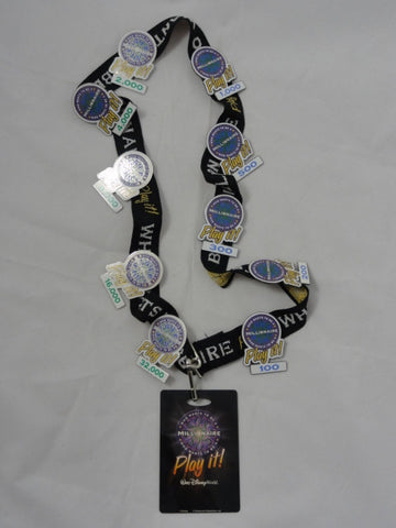 Disney WHO WANTS TO BE A MILLIONAIRE PLAY IT! 10 Prize Pin, Lanyard, and ID Card Lot