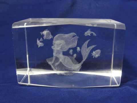 Disney Arribas Bros. ARIEL The Little Mermaid Rare 3D Laser Etched Crystal Figure Cube