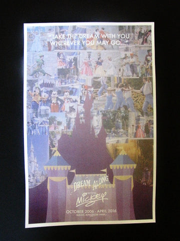 Walt Disney World 2016 Dream Along With Mickey Cast Lithograph