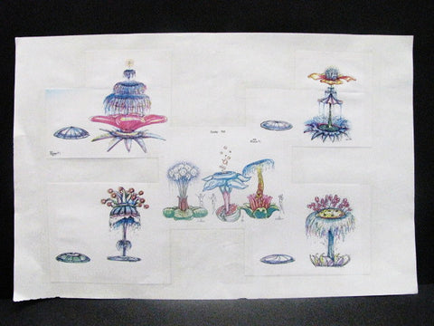 Disney World Rare EPCOT Splashtacular Fountains WDI Circulated Concept Art