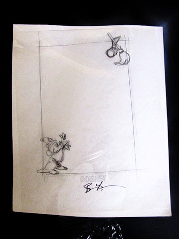 Disney Rare Sorcerer Mickey Artist Signed Note Pad Design Sketch