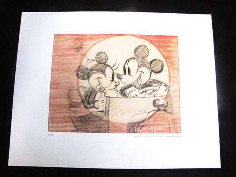 "Walt Disney Parks Retired ""Mickey's Rival"" Story Art Litho Print"