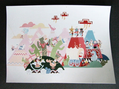 Disneyland Rare It's A Small World USA Scene Concept Art Print