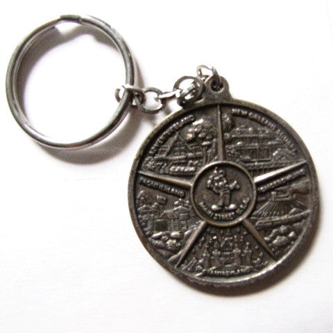 Disneyland Retired Attraction Lands Bronze Coin Keychain