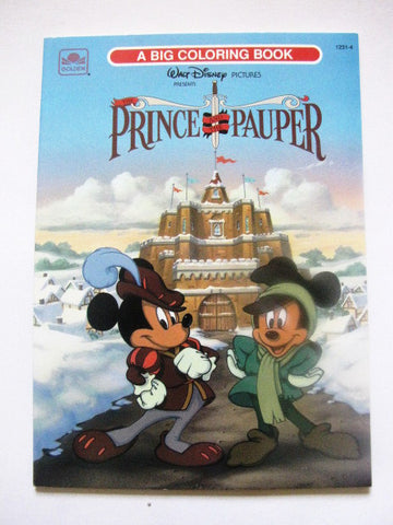 Walt Disney 1991 Prince And The Pauper Golden Coloring Book