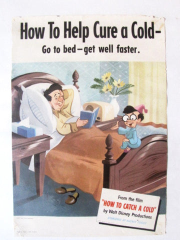"Disney Vintage 1951 How To Catch A Cold ""Cure"" Kleenex Animated Short Poster"