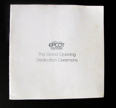 Disney World 1982 EPCOT Grand Opening Ceremony Dedication Book
