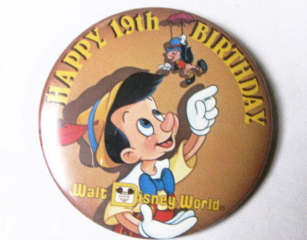 Walt Disney World 19th Birthday Pinocchio 1990 Pinback Button