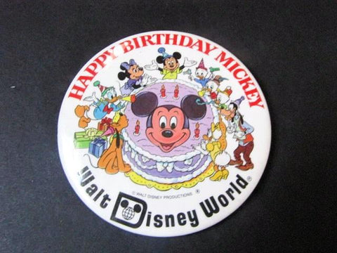 Walt Disney World 1978 Happy Birthday Mickey Mouse Pinback Button