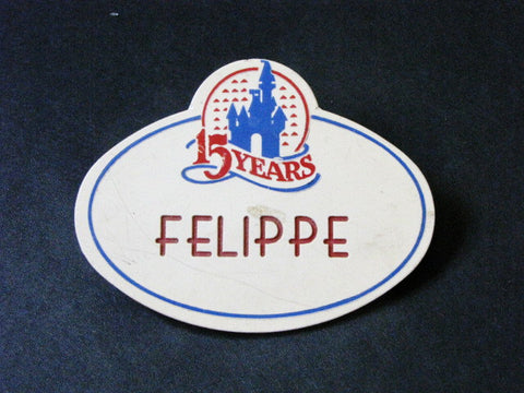 Disney World 15th Anniversary Cast Member 1986 Name Tag (Felippe)