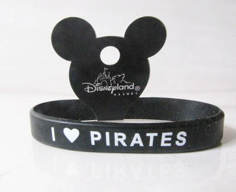 "Disneyland Retired ""I Love Pirates"" POTC Rubber Bracelet"