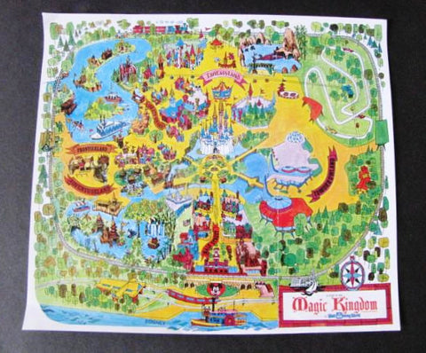 Walt Disney World Vintage Park Map Replica Magnet