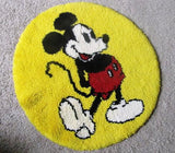 Disney 1977 Vintage Mickey Mouse Shillcraft Handmade Rug