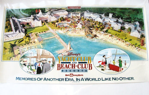 Walt Disney World 1990 Yacht & Beach Club Resort Commemorative Lithograph