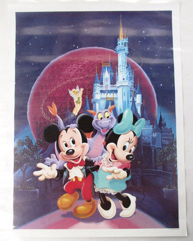 Disney World 1985 Figment Minnie Mickey Tinker Bell Poster