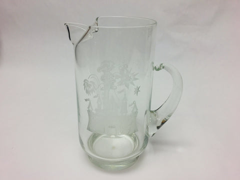 Vintage Walt Disney World Etched Cinderella Castle and Mickey Glass Pitcher