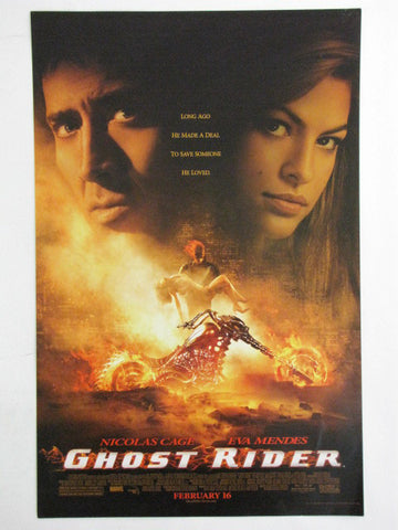 Marvel 2007 GHOST RIDER Nicolas Cage Eva Mendes Theatrical Promo Exclusive Movie Poster